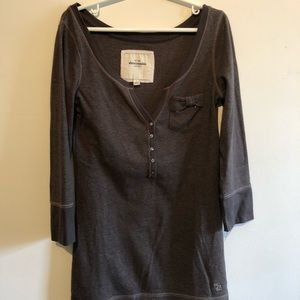 abercrombie brown button down long sleeve top